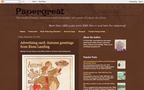 Screenshot of Home Page papergreat.com - Papergreat - captured Sept. 25, 2015