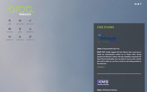 Screenshot of Case Studies Page orcatelecom.co.uk - Case Studies - Orca Telecom - captured Oct. 26, 2014