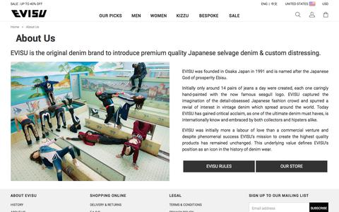 Screenshot of About Page evisu.com - About Us - captured July 15, 2018