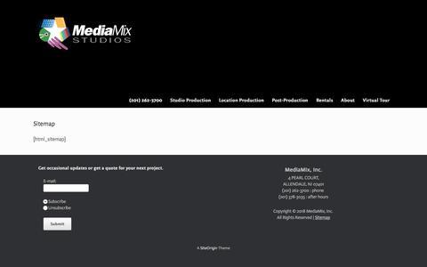 Screenshot of Site Map Page mediamixstudios.com - Site Map - Video and TV Studio - captured Sept. 20, 2018