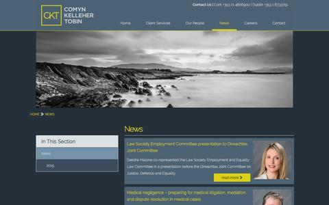 Screenshot of Press Page ckt.ie - Comyn Kelleher Tobin - News - captured Jan. 30, 2016