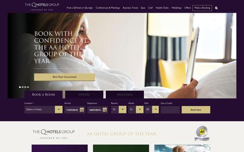 Screenshot of Home Page qhotels.co.uk - 4 Star Luxury Hotels - UK Conference, Meeting and Event Venues – QHotels - captured July 17, 2015