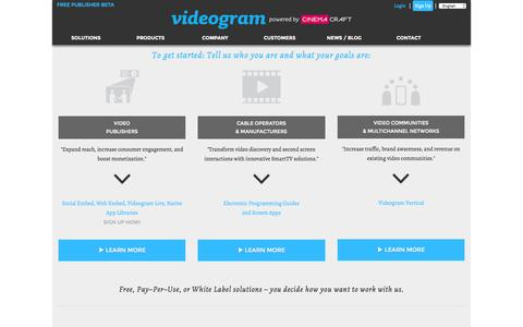 Screenshot of Signup Page cinemacraft.tv - Videogram by Cinemacraft is a powerful tool for consuming, sharing, and monetizing online video. - captured Nov. 14, 2015