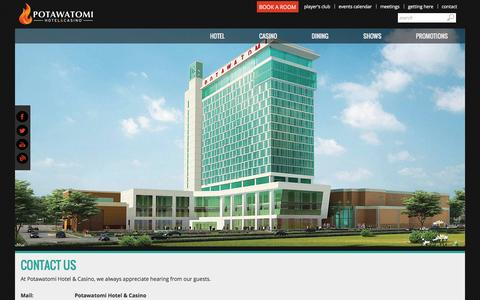 Screenshot of Contact Page paysbig.com - Contact Us | Potawatomi Hotel & Casino, Milwaukee, Wisconsin - captured Sept. 19, 2014