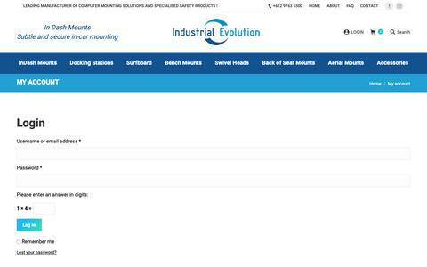 Screenshot of Login Page industrialevolution.com.au - My account - Industrial Evolution Pty Ltd - captured Dec. 17, 2018