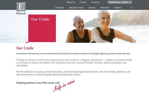 Our credo | Edwards Lifesciences