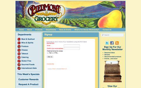 Screenshot of Signup Page piedmontgrocery.com - Signup – Piedmont Grocery - captured Sept. 29, 2014