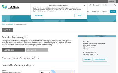 Screenshot of Locations Page hexagonmi.com - Niederlassungen | Hexagon Manufacturing Intelligence - captured Oct. 21, 2018