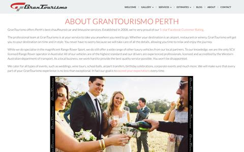 Screenshot of About Page grantourismo.com.au - About GranTourismo Range Rover and Limousine Hire Perth - captured Sept. 30, 2018