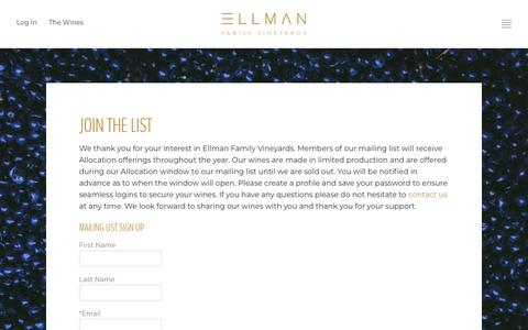 Screenshot of Signup Page ellmanfamilyvineyards.com - Ellman Family Vineyards - The Wines - Join The List - captured Oct. 30, 2019