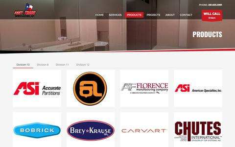Screenshot of Products Page ftspec.com - Fast Track Specialties, LP | Expert in Division 10 Specialties | Products - captured Oct. 13, 2017