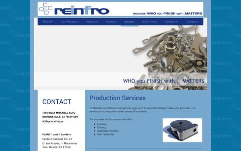 Screenshot of Services Page reinfro.com - REINFRO CORP. - Services - captured July 5, 2018