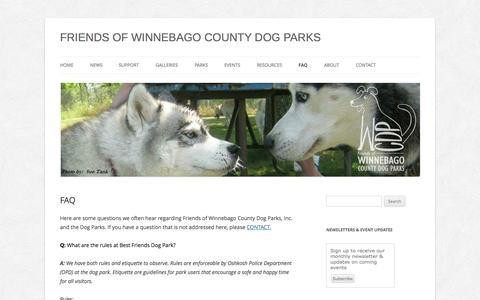 Screenshot of FAQ Page winnebagocountydogparks.com - FAQ   FRIENDS OF WINNEBAGO COUNTY DOG PARKS - captured Oct. 6, 2014
