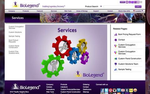 Screenshot of Services Page biolegend.com - BioLegend Services - captured Oct. 1, 2015