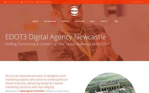 Screenshot of About Page edot3design.co.uk - Digital Agency Newcastle upon Tyne | North East UK - captured Oct. 24, 2018