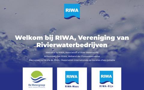 Screenshot of Home Page riwa.org - RIWA - captured Nov. 9, 2018