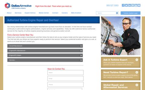 Screenshot of Services Page dallasairmotive.com - Turbine Engine Repair and Overhaul | MRO Facilities | Dallas Airmotive - captured Sept. 30, 2014