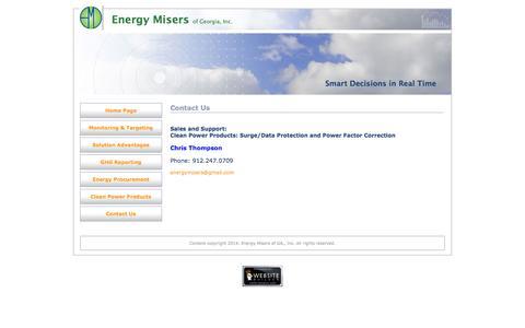 Screenshot of Contact Page energymisersga.com - Contact Us - captured Oct. 2, 2014