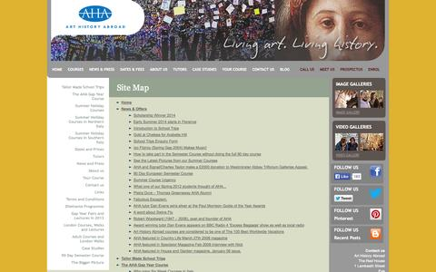 Screenshot of Site Map Page arthistoryabroad.com - Art History Abroad - Courses to Italy for Gap year students, families, adults and London cultural walks - captured Sept. 30, 2014