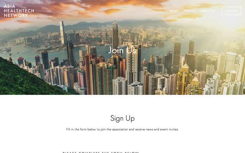 Screenshot of Signup Page healthtech.asia - Join Us — Asia Healthtech Network - captured Oct. 8, 2017