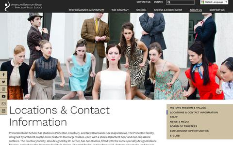 Screenshot of Contact Page Locations Page arballet.org - Locations & Contact Information - American Repertory Ballet - captured May 30, 2017