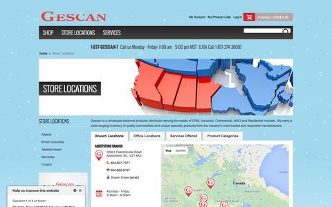 Screenshot of Locations Page gescan.com - Store Locations - captured Dec. 9, 2015