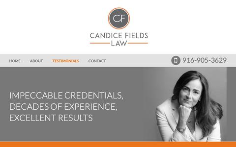Screenshot of Testimonials Page candicefieldslaw.com - Testimonials | Candice L. Fields | Sacramento, California - captured Nov. 4, 2018