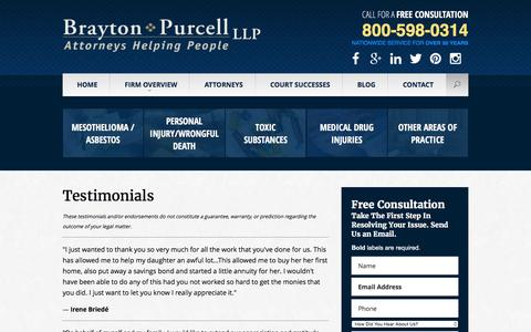 Screenshot of Testimonials Page braytonlaw.com - Testimonials | Brayton Purcell LLP | California - captured Feb. 8, 2016