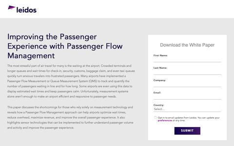 Screenshot of Landing Page leidos.com - White Paper: Improving the Passenger Experience with Passenger Flow Management | Leidos - captured Jan. 29, 2019