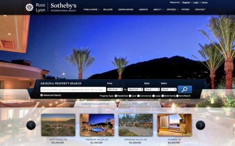 Screenshot of Home Page russlyon.com - Arizona Real Estate & Arizona Homes for Sale - Russ Lyon - captured Feb. 9, 2016