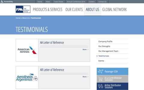 Screenshot of Testimonials Page talaviation.com - Testimonials | About Us | TAL Aviation - captured Nov. 28, 2016