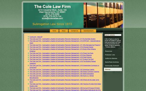 Screenshot of Site Map Page colenetlaw.com - The Cole Law Firm - Subrogation Litigation & Subrogation  Recovery Management - Sitemap - captured Feb. 15, 2016
