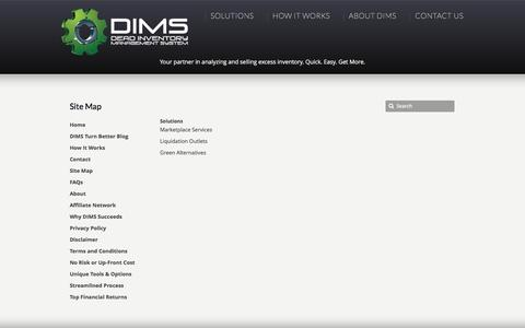 Screenshot of Site Map Page deadinventorymanagement.com - Site Map –  Dead Inventory Management System | Turning Dead Inventory into Dollars - captured Feb. 9, 2016