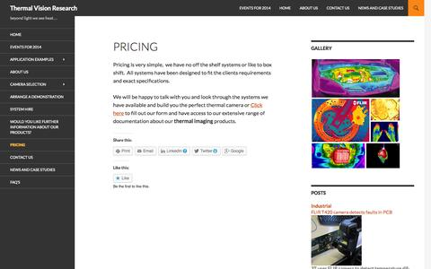 Screenshot of Pricing Page thermalvisionresearch.co.uk - Pricing | Thermal Vision Research - captured Sept. 30, 2014