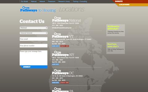 Screenshot of Contact Page Locations Page pathwaystohousing.org - Pathways to Housing - captured Oct. 22, 2014