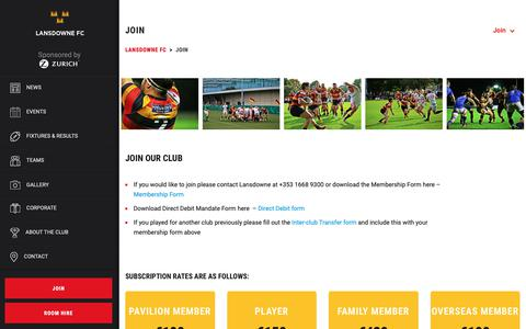 Screenshot of Signup Page lansdownerugby.com - Join - Lansdowne FC - captured Sept. 27, 2018
