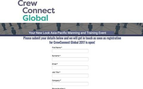 Screenshot of Landing Page knect365.com - Register your interest - CrewConnect Global 2017 - captured Dec. 30, 2016