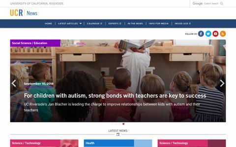 Screenshot of Press Page ucr.edu - | News - captured Sept. 19, 2018