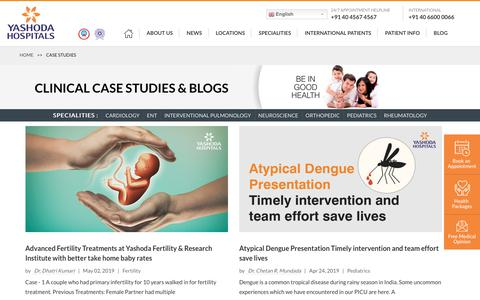 Screenshot of Case Studies Page yashodahospitals.com - Clinical Case Studies | Best Hospitals in Hyderabad | Yashoda Hospitals - captured May 13, 2019