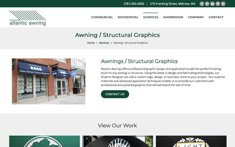 Screenshot of Services Page atlantic-awning.com - Awning / Structural Graphics - Atlantic Awning - captured Nov. 3, 2019