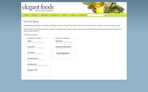 Screenshot of Signup Page elegantfoods.net captured July 1, 2018