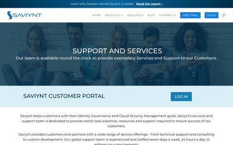 Screenshot of Support Page saviynt.com - Saviynt Support and Services - captured July 22, 2019