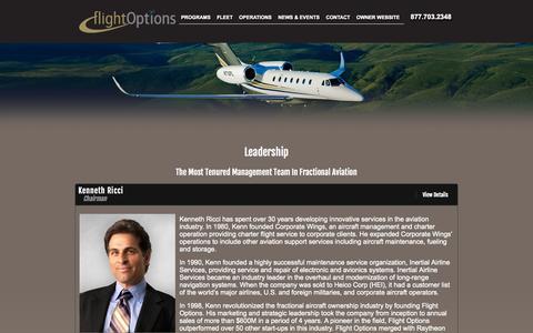 Screenshot of Team Page flightoptions.com - Flight Options Leadership | Experienced Business Aviation Management | Flight Options LLC - captured Sept. 23, 2014