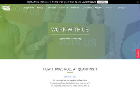 Screenshot of Jobs Page quantinsti.com - Careers - captured July 21, 2018
