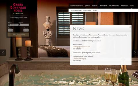 Screenshot of Press Page bohemianhotelasheville.com - Asheville Luxury Hotel News | Grand Bohemian Hotel - captured Oct. 3, 2014