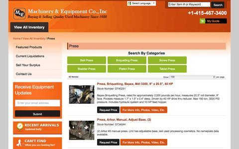 Screenshot of Press Page machineryandequipment.com - Large Inventory of Used Presses | Machinery and Equipment - captured Nov. 17, 2016