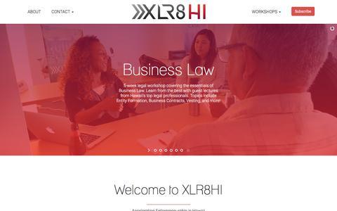 Screenshot of Home Page xlr8hi.com - XLR8HI | Accelerating Entrepreneurship in Hawaii - captured July 26, 2018
