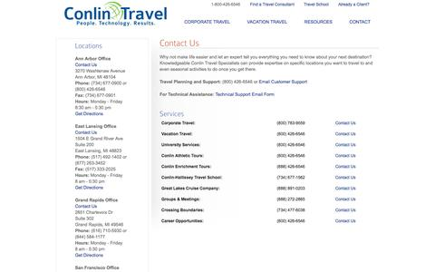 Screenshot of Contact Page conlintravel.com - Contact us online, by telephone, or visit one of our local offices in Ann Arbor, San Francisco, or East Lansing - Conlin Travel - captured Sept. 30, 2014