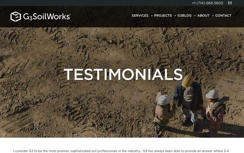 Screenshot of Testimonials Page g3soilworks.com - :: G3SoilWorks :: - captured Feb. 23, 2016