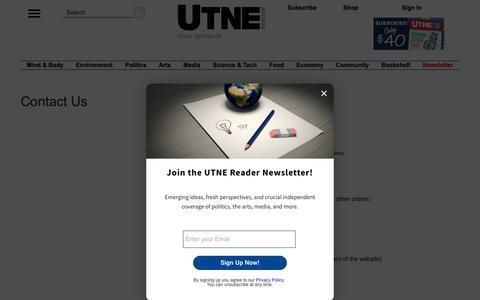 Screenshot of Contact Page utne.com - Utne Contact us - captured Nov. 11, 2018